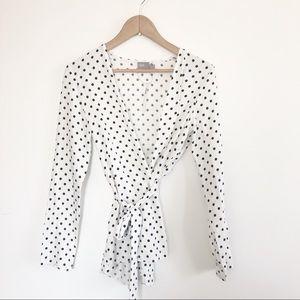 ASOS polka dot white black wrap 0 xsmall NWT top